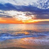 Pefkoulia beach in Lefkada Greece at sunset in Greece