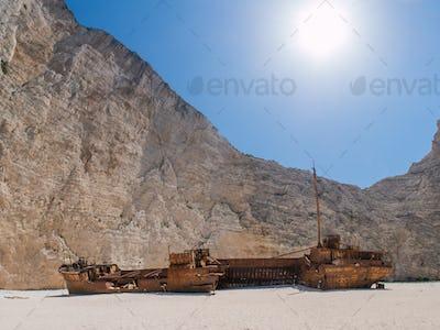 The famous Navagio Shipwreck beach in Zakynthos island