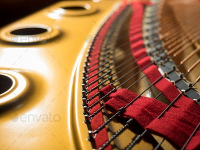 interior of a concert grand piano