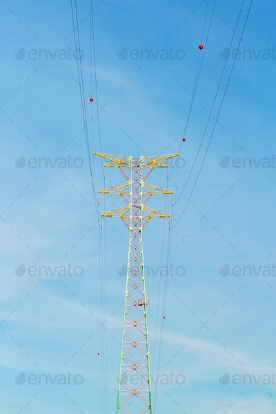 Power distribution tower cable