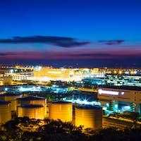 Oil tanks plant during sunset