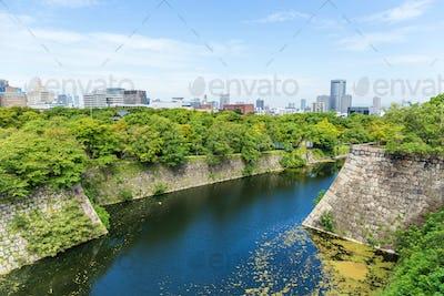 Moat of Osaka Castle in Osaka, Japan