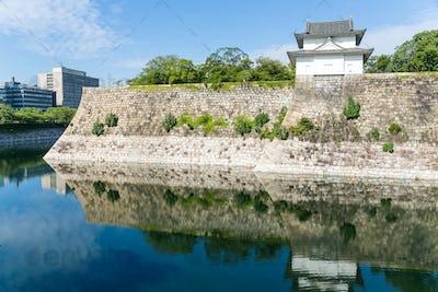 Moat with a Turret of Osaka Castle in Osaka