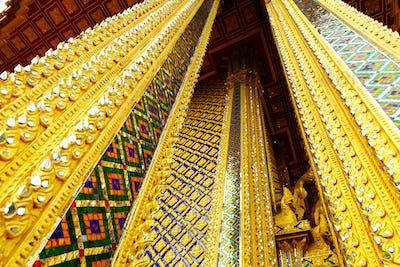 Golden pillar in thai temple