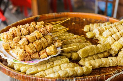 Grilled food on food market in Thailand