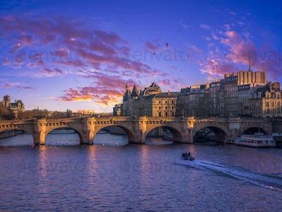 View on Paris France at dusk