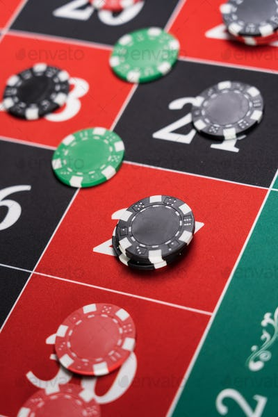 A Roulette table close up