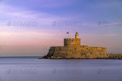 fortress on the Mandraki harbour of Rhodes Greece