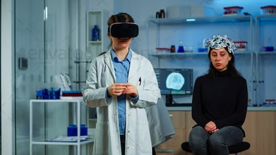 Laboratory doctor experiencing virtual reality in neurological lab
