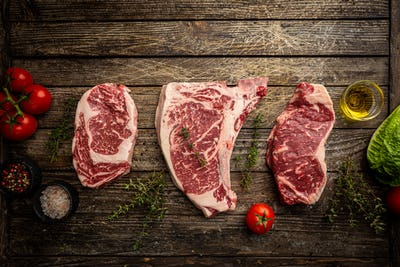 Variety of Raw Meat Steaks