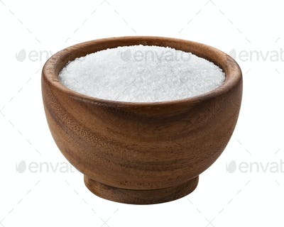 Sugar in wooden bowl isolated on white background