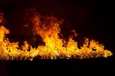 Blazing flames on black background