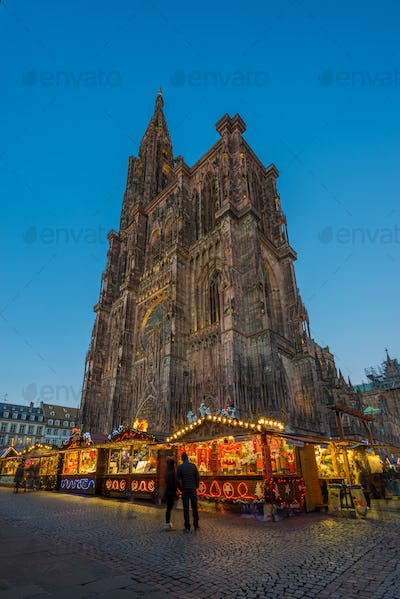 Christmas Market Christkindlmarkt at the Cathedrale in the city of Strasbourg