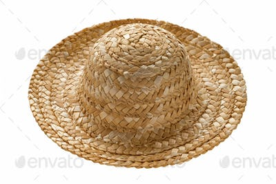 Round straw hat, side view