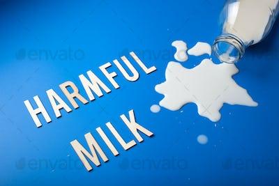 harmful milk word text letters lactose intolerance allergy. milk splatter. avoid dangerous dairy