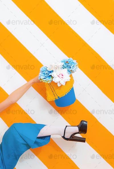 Unrecognizable Woman flowers mood