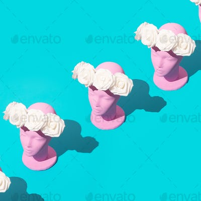 Dummy fashion flowers girl. Spring, summer seasons is coming concept. Minimal isometry design