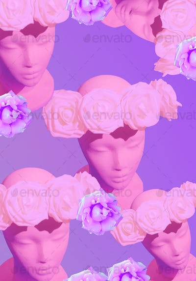 Dummy fashion flowers girl. Spring, summer seasons is coming concept. Minimal collage art