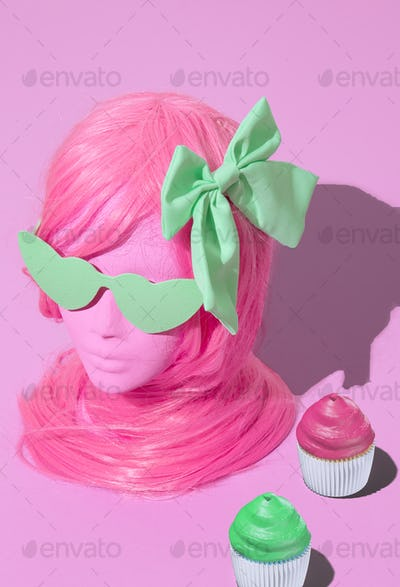 Dummy fashion candy girl. Sweet, candy shop, spring is coming concept. Minimal isometry