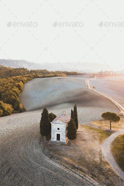 Aerial drone view of Cappella della Madonna di Vitaleta, Tuscany, Italy