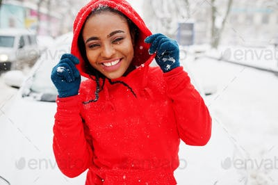 Red hoodie winter