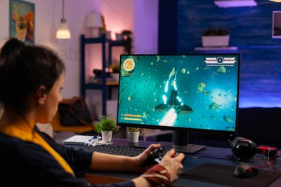 Videogamer playing graphics cyber space