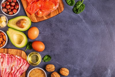 Keto, ketogenic diet, low carb, healthy food background.
