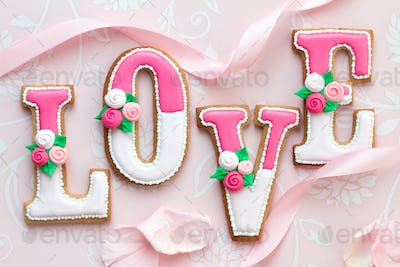 Decorated cookies spelling the word love