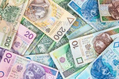 Background of polish banknotes