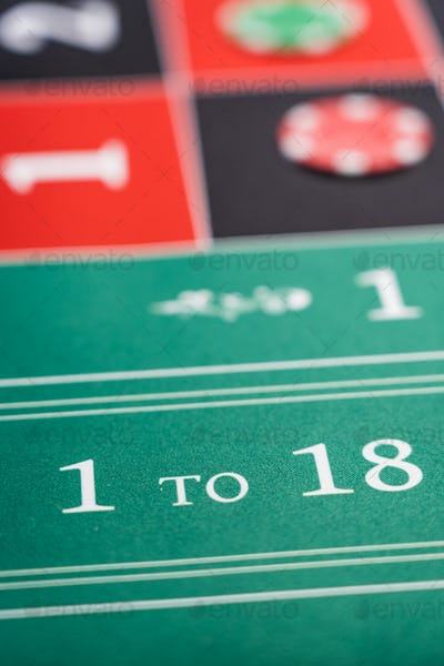 Roulette table close up