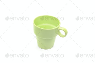Bright green cup on white background