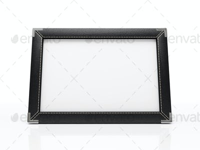 Black photo frame isolated on white background. Your image can