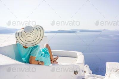 Young woman on holidays, Santorini