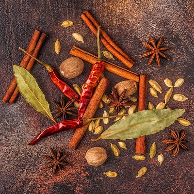 Spices ingredients for cooking. Spices concept.
