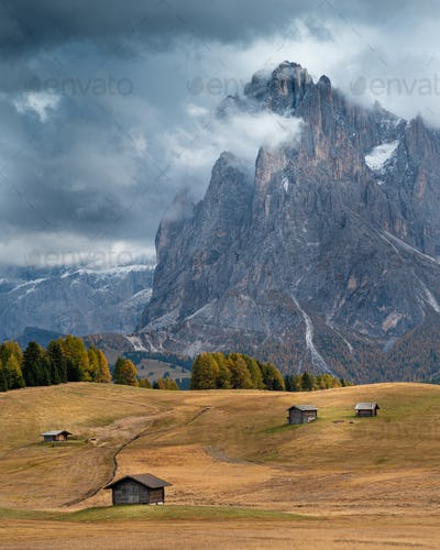 Landscape with beautiful autumn meadow field and the amazing Dolomite rocky peaks. Valley of Alpe di