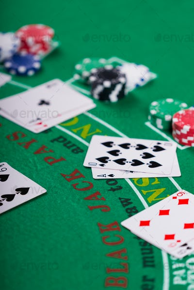 Black Jack casino table with chips