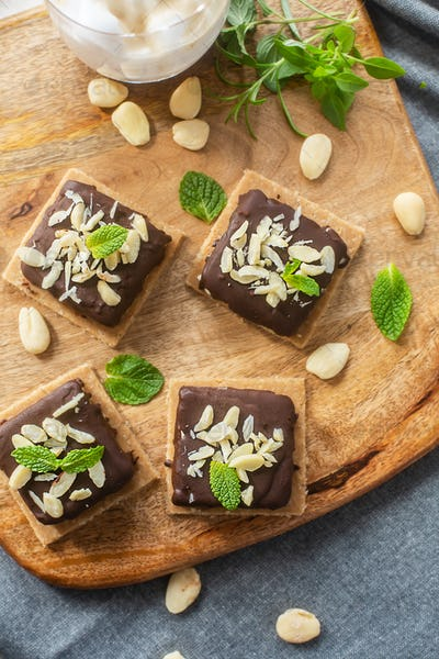 No baked organic sustainable raw sweets prepared with cocoa, top view