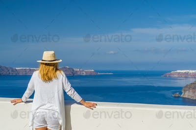 visiting the of the famous white island of Santorini in Greece