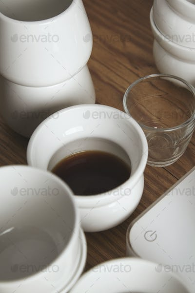 Close up on cup with filtered coffee