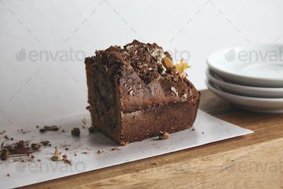 Side view half of tasty chocolate cake