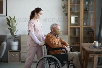 Senior Man Wearing Mask at Retirement Home