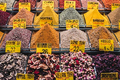 Different spices on a market  Grand Bazaar in Istanbul