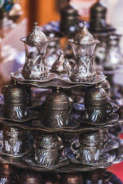 Traditional Turkish coffee set handmade with metal carving