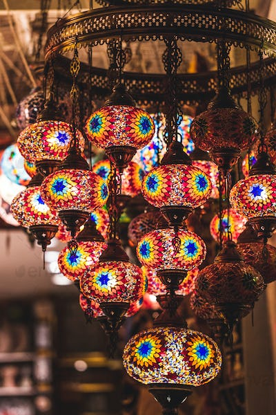 Amazing traditional handmade turkish lamps in souvenir shop. Mosaic of colored glass