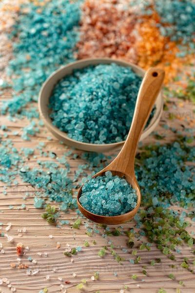 Aromatic bath salt in crate