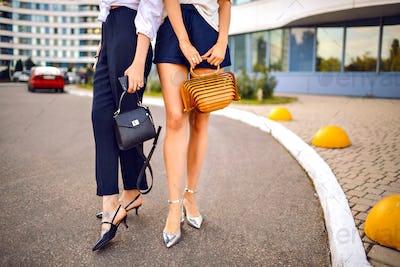 Fashion couple of beautiful trendy elegant woman