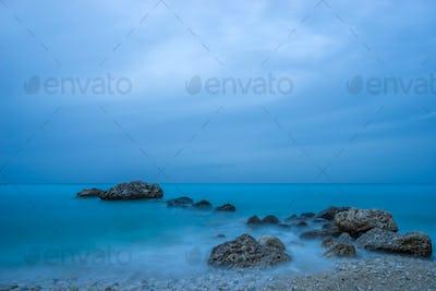 Agios Nikitas Lefkas island at dusk