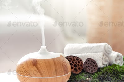 Spa composition with Aromatherapy and body care items.