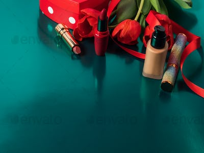 Gift box for women, mothers day, make up products and red tulips