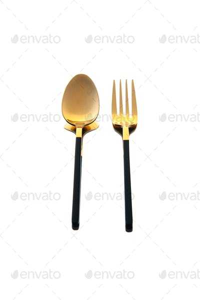 front view golden cutlery spoon and fork on white background dish cutlery knife spoon food table